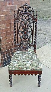 Antique English Irish Wood Carved Chair