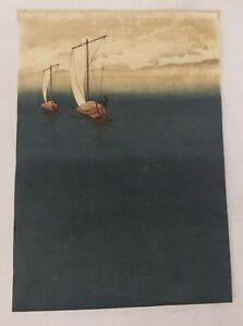 Antique Vintage Japanese Woodblock Print Hiroshige Hokusai Fishing Boats Trimmed