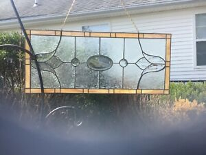 Vintage Stained Glass Panel 28 X12 Clear Beveled Tulip Etched Slag Glass