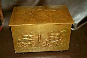 Antique English 18 Embossed Brass Plated Coal Scuttle W Ship Castle Scenes