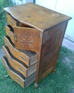 Antique Chest Of Drawers Farmhouse Dresser With Bonnet Door