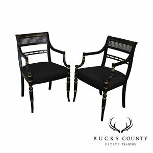 Hickory Chair Black Lacquer Gold Accent Pair Regency Style Armchairs