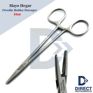 Mayo Hegar Needle Holder Driver 14cm Suture Surgical Piercing Groove Serrated Ce