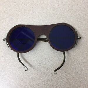 Vintage Welding Glasses Round Blue Lens Wilson Steam Punk Goggles Antique Ar127