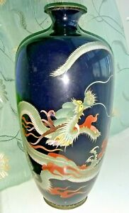 Antique Late 19th Century Japanese Cloisonne Vase With Dragon 9 5 Inches High