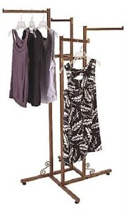 Clothing Rack 4 Way Four Adjustable Clothes Straight Arms Display Copper Finish