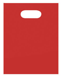 Plastic Bags 1000 Red Low Density Shopping Merchandise Die Cut Handles 9 X 12