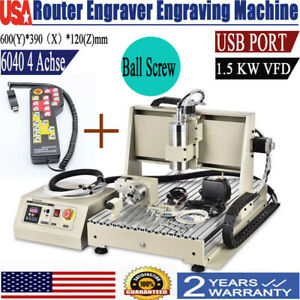 6040 Engraving Machine 4 Axis Engraver Usb Cnc Router Woodwork Milling Kit 1500w