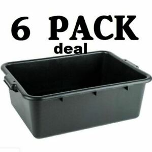 6 Pack 20 X 15 X 7 Black Polypropylene Bus Plastic Restaurant Dishwasher Tub
