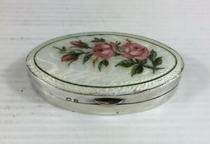 Antique 1911 Guilloche Enamel Solid Silver Floral Decorated Trinket Pill Box