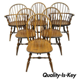Set Of Six Maple Nichols Stone American Colonial Windsor Spindle Dining Chairs