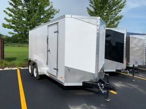 New 2019 6x14 6 X 14 V nosed Enclosed Cargo Motorcycle Trailer Ramp