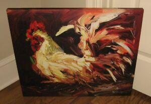 Large Rooster Canvas Wall Picture Farmhouse Primitive French Country Home Decor