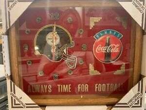 VINTAGE PITTSBURGH STEELERS COCA-COLA CLOCK HERITAGE 15 X 12 INCH  FOOTBALL