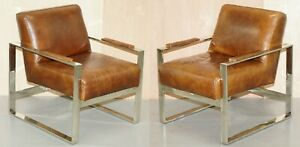Stunning Chrome Vintage Brown Heritage Leather Occasional Office Armchair