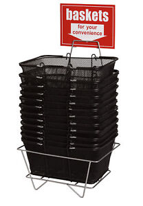 12 Black Wire Mesh Shopping Metal Baskets 17 X 12 X 7 Metal Display Stand Large