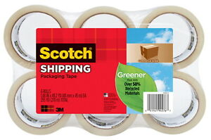Scotch Greener Shipping Packaging Tape 1 88 Inches X 49 Yards Clear Pack Of 6