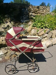 Vtg 1940 S 60 S Baby Doll Stroller Buggy Burgundy Ivory Works Great Cond