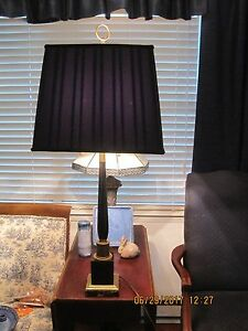 Hollywood Regency Marble Brass Column Table Lamp 5 Lights Overall Height 33