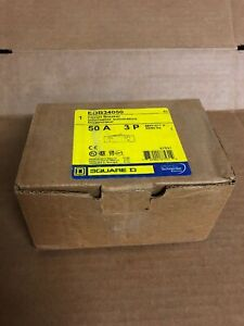 New In Box Square D Edb34050 50a 3 Pole Circuit Breaker Sqd