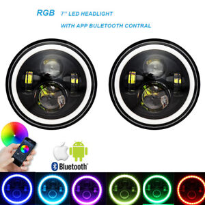 Rgb 7 Inch Halo Led Headlights Drl Lights Combo Kit For Jeep Wrangler Jk Tj Lj