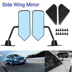 2pc Car Universal F1 Style Glossy Black Side Mirror Rearview Mirrors Kit Vintage