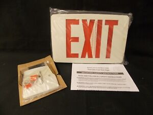 Lithonia Exit Sign Thin Die cast Tle W 1 R Red Letters 6 Tall White Bkgnd Nib