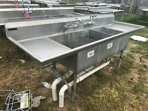 Stainless Steel 94 X 30 Heavy Duty 3 Compartment Wash Kitchen Sink W faucet