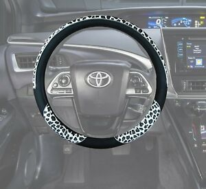 Auto Car Steering Wheel Covers Animal Print Black Pu Leather White Leopard S