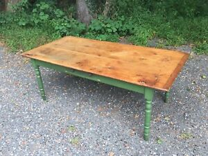 19th Century Pennsylvania Farm Table With Scrub Top And Painted Base