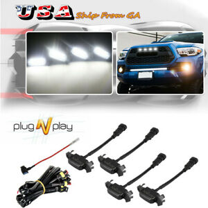 Smoked Front Grille White Led Lights Kit For 16 Up Toyota Tacoma W Trd Pro Grill