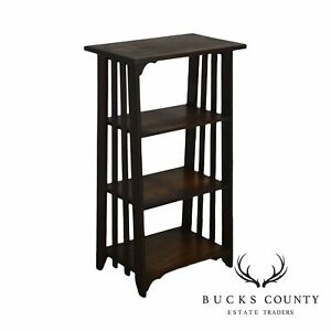 Mission Style Antique Oak 4 Tier Open Bookshelf Bookcase