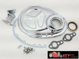 Small Block Chevy Chrome Timing Cover Kit Gaskets Bolts Tab Sbc 350 305 Roller