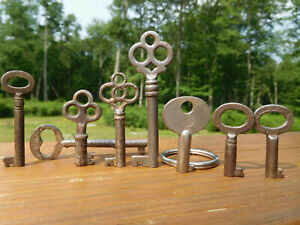 Antique Vintage 8 American Corbin Peterboro Eagle Lock Keys