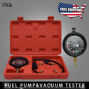 Fuel Pump Engine Vacuum Pressure Gauge Leak Diagnostic Tool Tester Set Case Us