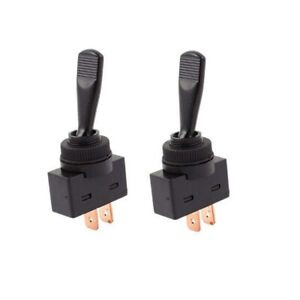 2x Black On off Universal Toggle Switches 2 pin 12v Dc 20a Car Truck Boat Diy
