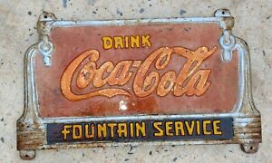 Vintage Coca Cola Park Bench Cast Iron Plaque & Legs COKE Soda FOUNTAIN SERVICE