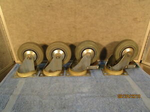 Guitel Commercial Swivel Rubber Casters Used Set Of 4 Lot 2