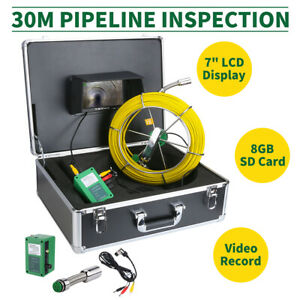 30m Sewer Waterproof Camera Pipe Pipeline Drain Inspection System 7 lcd Dvr Top