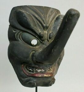 Exceptionally Rare Antique Ca 1600s 1700s Japanese Japan Wooden Tengu Mask