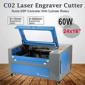 60w 16x24 Working Area Co2 Laser Engraver Engraving Cutting Machine W Rotary