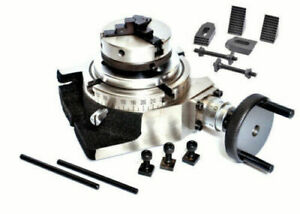 4 Inch Rotary Table 4 Slots With 65mm Lathe Chuck M6 Clamping Kit
