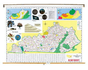 Nystrom Kentucky Pull Down Roller Classroom Map 68 X 50 Inches