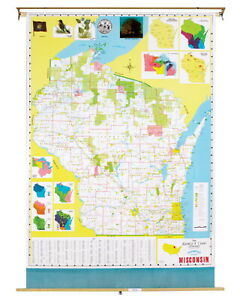 Nystrom Wisconsin Pull Down Roller Classroom Map 51 X 68 Inches