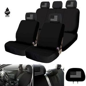 New Black Us Flag Car Truck Suv Seat Covers Full Set With Gift For Ford