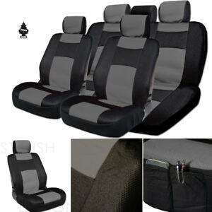 For Nissan New Black Grey Pu Leather Mesh Car Truck Seat Covers Gift Set