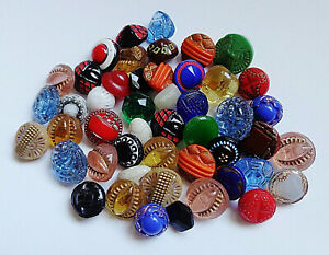 Lot 1 Of 40 Antique Vintage Assortment Diminutive Tiny Glass Buttons