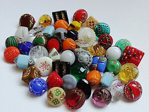 Lot 2 Of 40 Antique Vintage Assortment Diminutive Tiny Glass Buttons