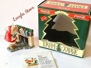 1995 Coca Cola Trim A Tree Collection SANTA at the FIREPLACE Christmas Ornament