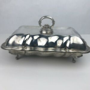 Antique Silver Footed Tureen Serving Dish Lid Wiesbaden Air Base Wives Club 1957